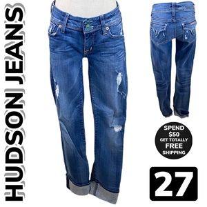 HUDSON JEANS Ginny Crop Straight w Cuff Jeans (27)